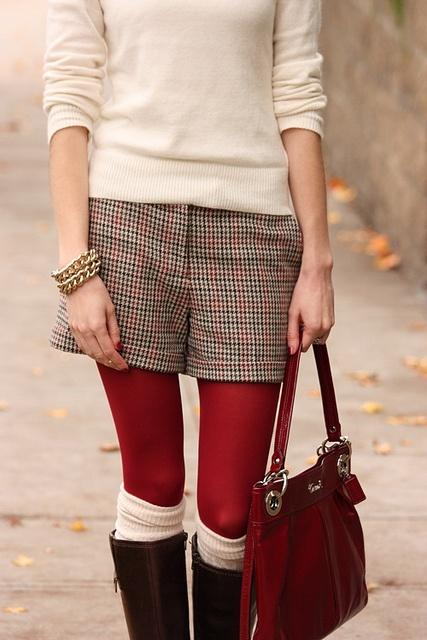 herringbone shorts, red tights, winter white sweater and boot socks.    #winter #white #shorts #herringbone
