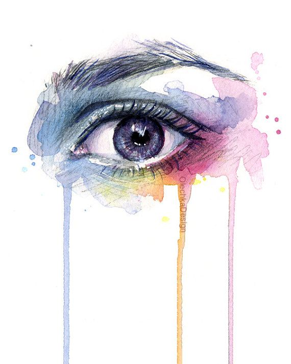 Ojos hermosos arco iris imprimir acuarela arte, surrealista ojo, ojo, ojos coloridos, única pintura de goteo