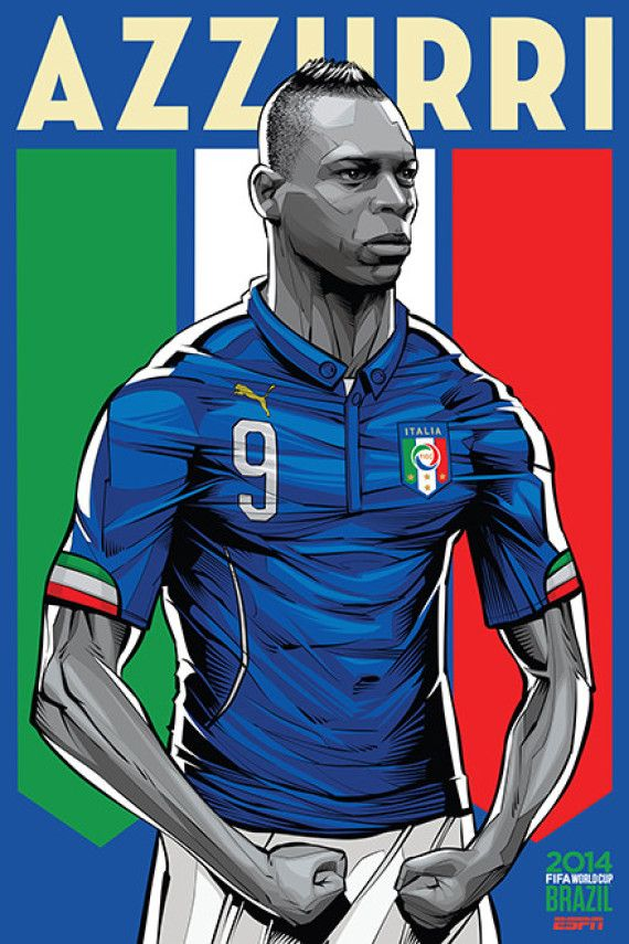 Italia - Italy, Afiches fútbol Copa Mundial Brasil 2014 / World Cup posters by Cristiano Siqueira