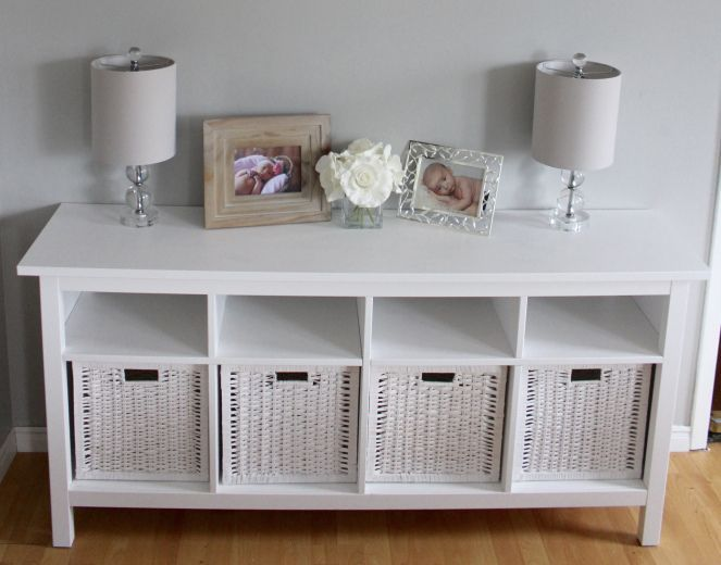 Ikea Hemnes Sofa Table And Branas Baskets Click Through The Picture To See My Full Review There Are So Many Uses For This Table Tv S Living Room Decor Rustic