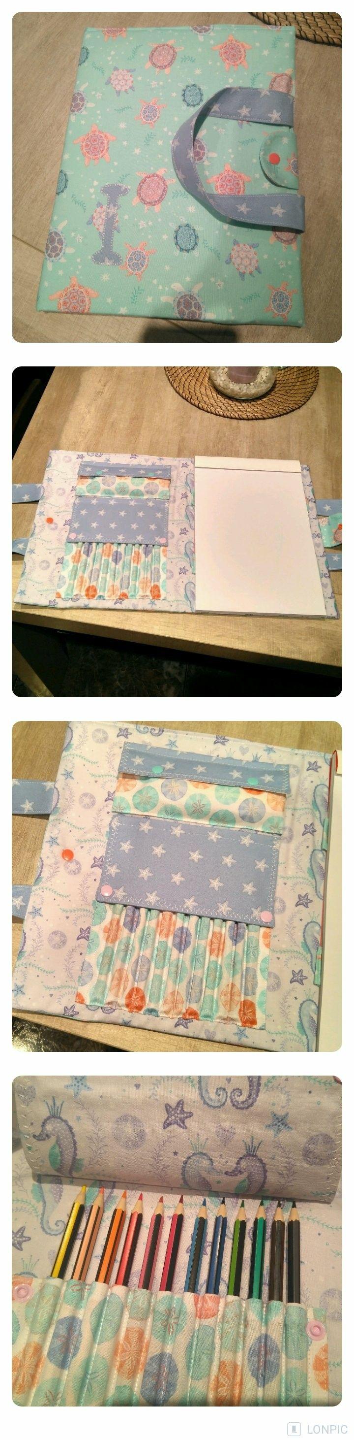 Carpeta para bloc de notas y compartimentos para lápices. Perfecto regalo para l@s peques.  #DIY #Costura #Infantil #Regalo #Inspiración #Creatividad #Sewing #Present #Inspiration #Fabrics