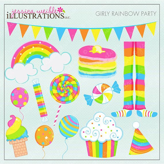 Girly Rainbow Party Cute Digital Clipart for Card Design, Scrapbooking, and Web Design, Rainbow Clipart via Etsy