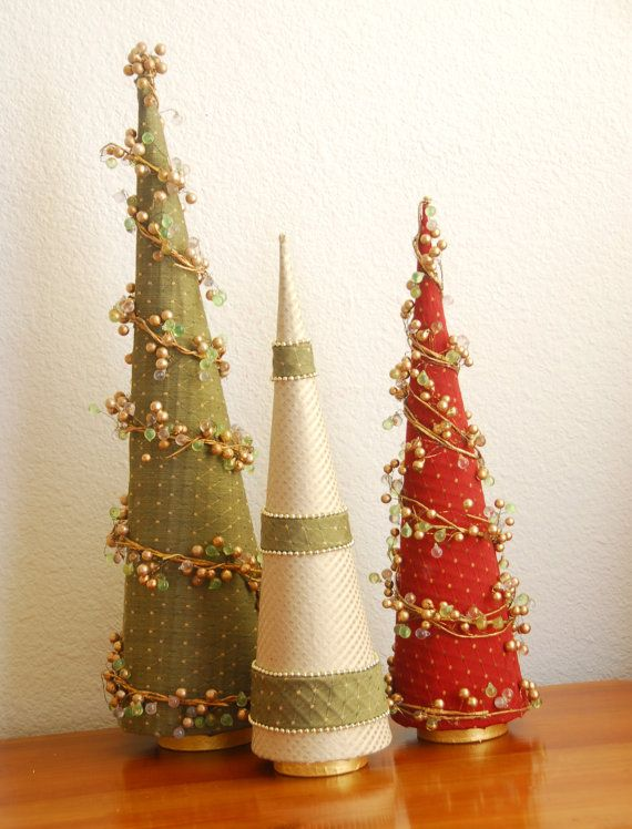 Christmas Tree Holiday Decorations Tall slender by AwaitedTreasure
