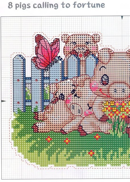 8 PIGS CALLING TO FORTUNE 1 (2) (no color chart available, just use photo/pattern chart as your stitch/color guide... or choose your own colors)