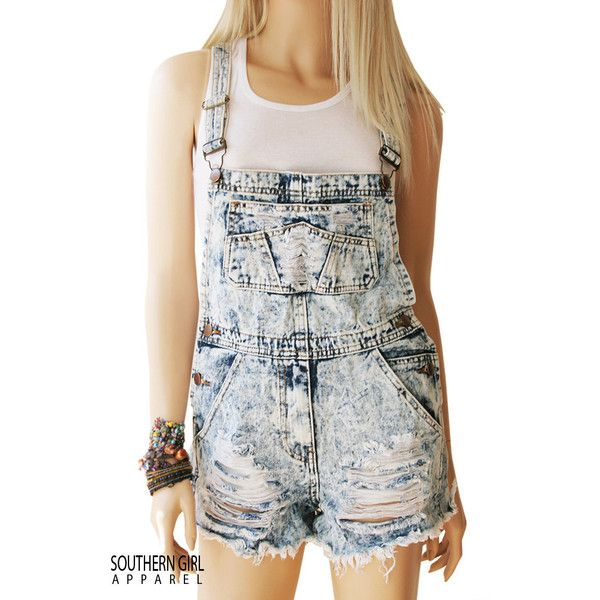 Denim Distressed Shredded Bib Overall Shorts ($32) ❤ liked on Polyvore featuring shorts, black, women's clothing, overalls shorts, short overalls, denim overall shorts, stretch shorts and distressed denim shorts