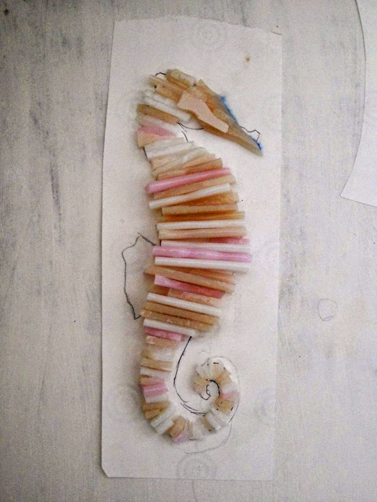 fused glass seahorse scrap glass project how use up stained sea horse water Sharon Warren