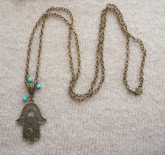 Hamsa Hand Necklace, Boho Necklace, Turquoise Necklace