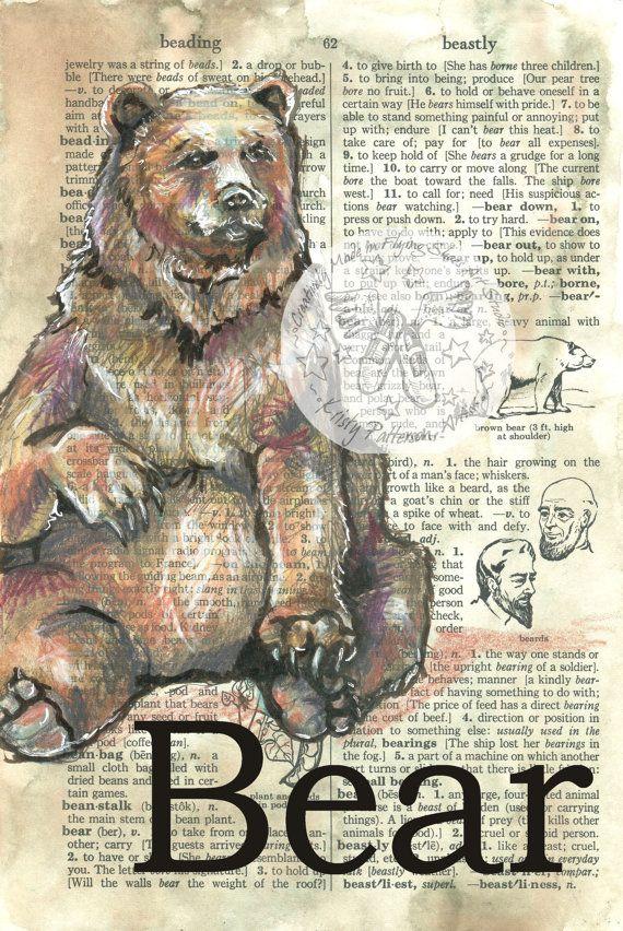Druck: Bear Mischtechnik Zeichnung auf antike Wörterbuch-Seite