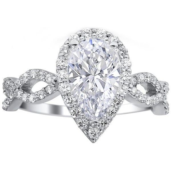 Engagement Ring -Pear Shape Halo Diamond Engagement Ring with Infinity... ($2,198) ❤ liked on Polyvore featuring jewelry, rings, diamond infinity ring, diamond engagement rings, diamond jewellery, diamond band ring and pear cut diamond ring