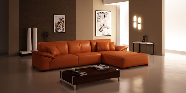 Contemporary Living Room Interior Design With Modern Velletri Leather Sofa Right Hand Chaise In Orange