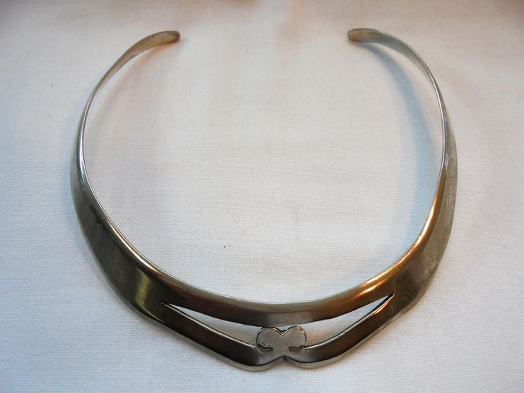 Vintage Sterling Silver Collar / Choker Necklace 38 Grams Modernist Minimalist Retro Art Deco Statement by KathiJanes on Etsy