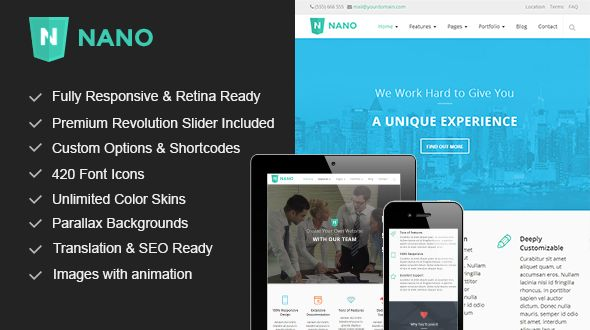 Nano – Parallax Responsive Multi-Purpose WordPress Theme