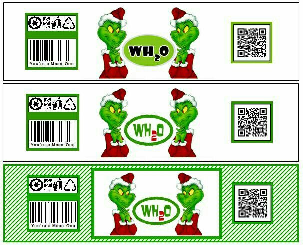 """Grinch water bottle labels I made. The bottom label was the final. The QR code says, """"You're a mean one Mr. Grinch ... Merry Christmas!"""""""