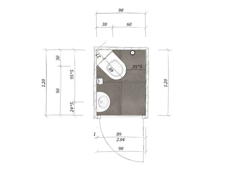 Door het diagonaal plaatsen van het toilet creëer je meer bewegingsruimte. Deze toiletruimte is slechts 90x120 cm groot