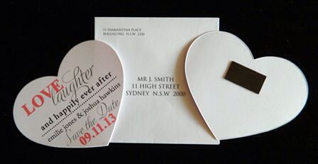 Save the date hearts magnet
