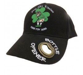 Black Baseball Cap with Pog mo Thoin Print, Leprechaun Image and Metal Bottle Opener on Peak