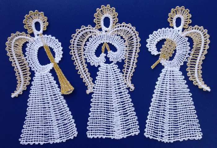 Advanced Embroidery Designs - FSL Battenberg Angel Ornament Set