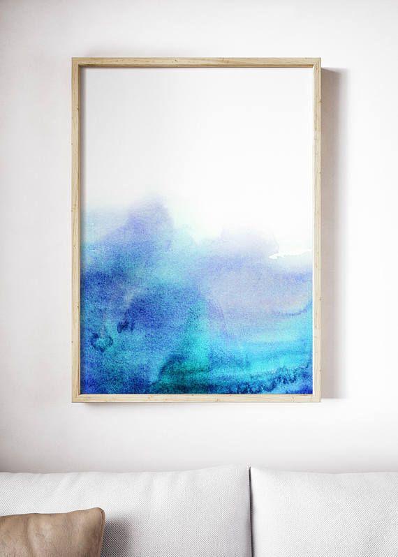 Printable Blue Wave Watercolor Print Bright Blue Print Blue