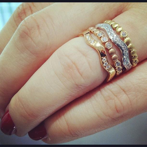 18k White Gold Ritani S33 8 Stack Bezel Set Diamond Right Hand Ring