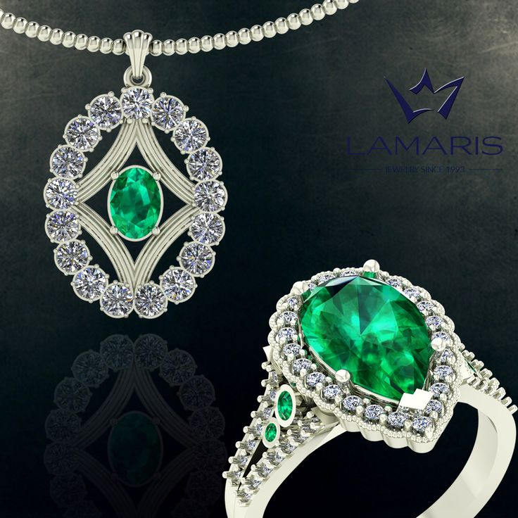 Pandantiv si inel din aur alb cu diamant si smarald.