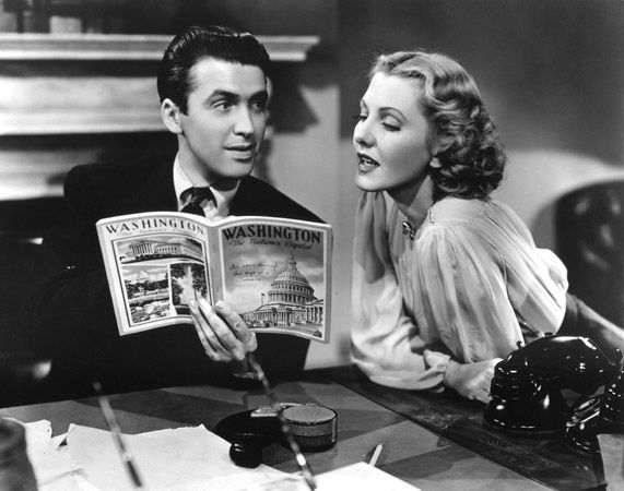 James Stewart and Jean Arthur reads in Mr. Smith Goes to Washington. 1939