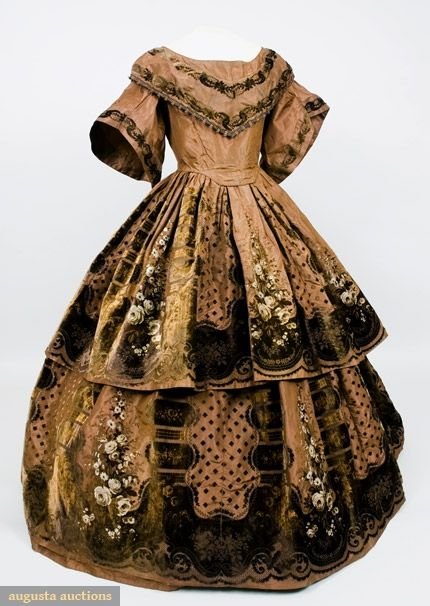 Printed and Voided Velvet Evening Gown, 1850s -- chocolate brown silk faille with border design of brown and cream roses, scrolls and columns, wide scoop neckline with attached collar, full short pagoda sleeves, and full skirt in two tiers via Tasha Tudor Historic Costume Collection : Vintage Fashion, Historical Fashion, 1850 S, Costume, Voided Velvet, 1850S, Vintage Clothing