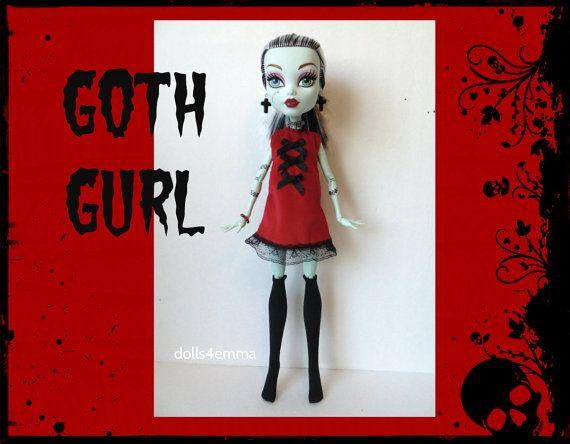 Monster High 17-inch Doll kleding - kousen, Goth jurk + sieraden - handgemaakte aangepaste fashion door dolls4emma