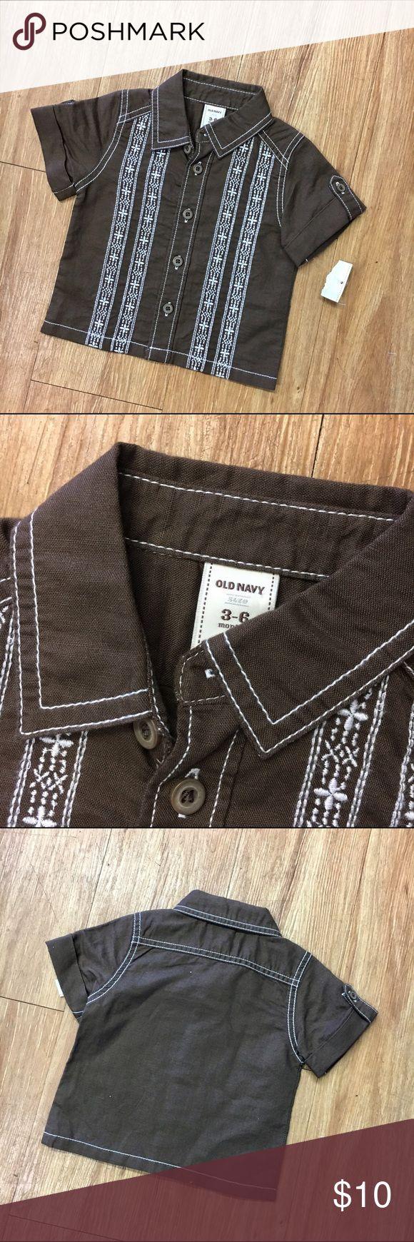 Old Navy NEW NWT Brown White Cubavera Shirt 3-6 Mo Old Navy NEW NWT Brown White Cubavera Shirt 3-6 Mo  Super cute buttonfront short sleeve shirt from Old Navy.  Cubavera style.  55% linen, 45% cotton.  #new #brown #shirt #nwt #cubavera #embroidered #buttonfront #dressshirt #casual #beachwear #tothebeach #letsgotothebeach Old Navy Shirts & Tops Button Down Shirts