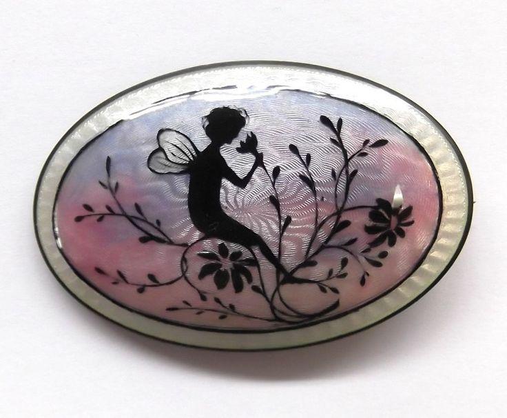 Norway Hans Myhre Vintage Guilloche Enamel Sterling Silver Fairy Brooch Pin 925S   eBay, $219.99