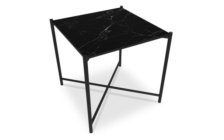 Side Table: BLACK // Black Marble Our mission was to create a table that could serve the purpose of both a small coffee table, a side table or a night stand. The marble is mounted into a slender powder coated metal frame, that adds to a light weight look. Marble is a natural product with unique patterns and expressions - that also makes every single table unique.