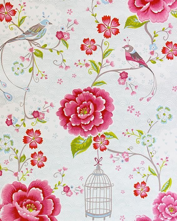 Kinderbehang Pip - Vogel gebr. wit/roze bloem 313012