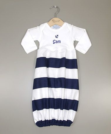 This White & Navy Stripe Anchor Personalized Gown - Infant by Princess Linens is perfect! #zulilyfinds
