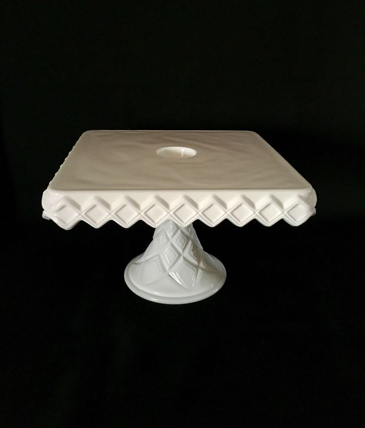 Vintage Cake Stand, Milk Glass Cake Stand, Square Milk Glass Cake Stand, Rum Well Cake Stand, Pedestal Cake Plate, Wedding Cake Stand by passedloves on Etsy