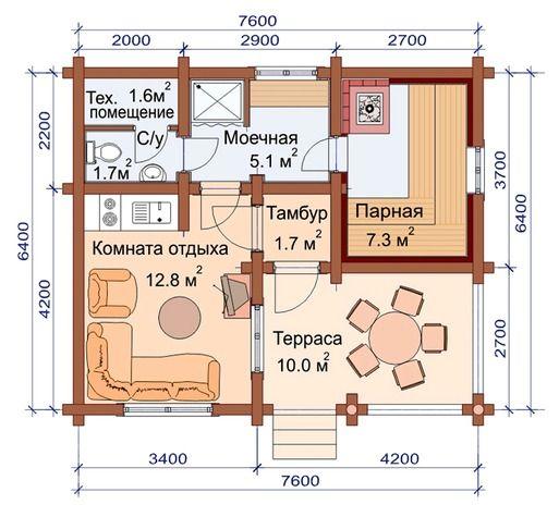 Проект 132 | Баня на заказ | Дом, Планировки
