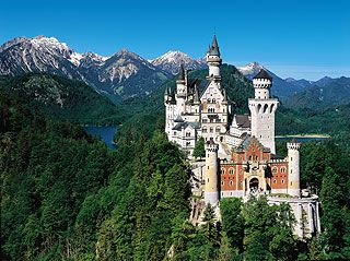 """Neuschwanstein castle in Germany near Füssen. I love this castle, not just because of childhood memory of """"Chitty Chitty Bang Bang"""", but because of the over a mile climb I had to make to get to the castle and the view at the top. Not to mention the gaudy blood red colored curtains.: Sleep Beautiful, Walt Disney, Favorite Places, Disney Castles, Neuschwanstein Castles, Travel, Castles In Germany, Palace, Bavaria Germany"""