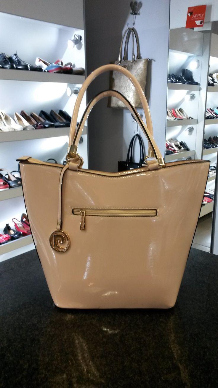 Nude Patent Leather handbag by Pierre Cardin