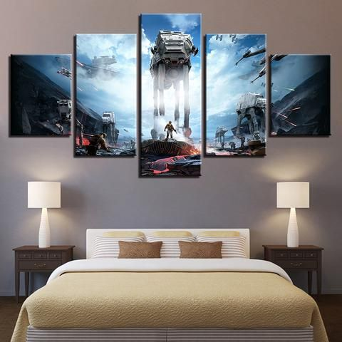 5 Pieces Movie Star Wars Pictures Canvas Wall Art