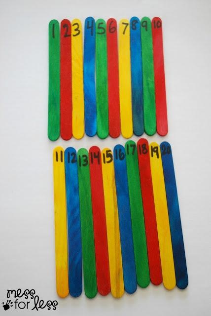 """Math Game - Number Hunt - para introducir en gymkhanas. Tienen que encontrar todos los palitos con numeros. Si falta uno, """"how many are missing?"""""""