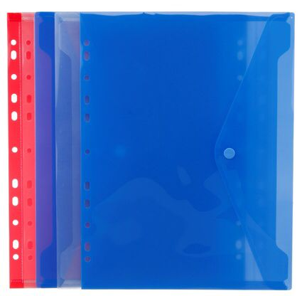 £2.99 WHSmith Assorted Colours Ringbinder A4 Plastic Popper Wallets (Pack of 5)