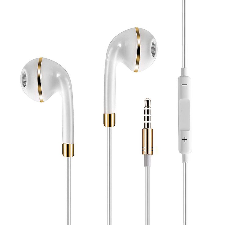 Universal In-Ear Headset 3.5mm Sports Stereo Headphone with Mic - White + Gold