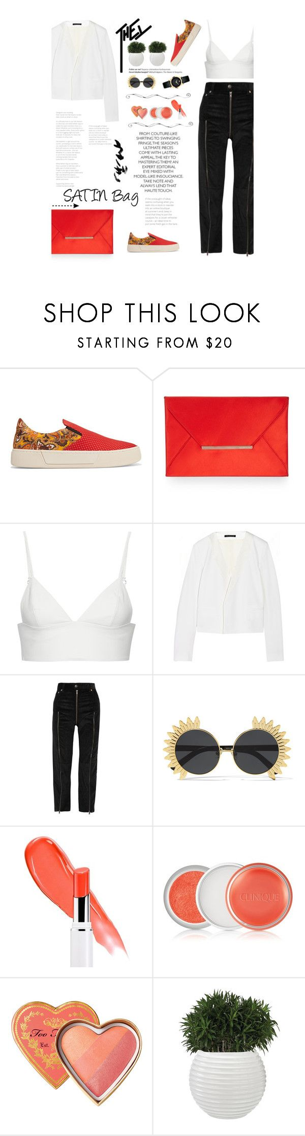 """Trending Bag: SATIN Bag"" by amimcqueen ❤ liked on Polyvore featuring Balenciaga, BCBGMAXAZRIA, T By Alexander Wang, Theory, Vetements, Linda Farrow, Clinique, Movado and Balmain"