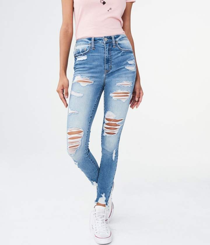 Aeropostale Seriously Stretchy Super High Waisted Ankle Jegging Ripped Jeans Girls Ripped Jeans Ripped Mom Jeans