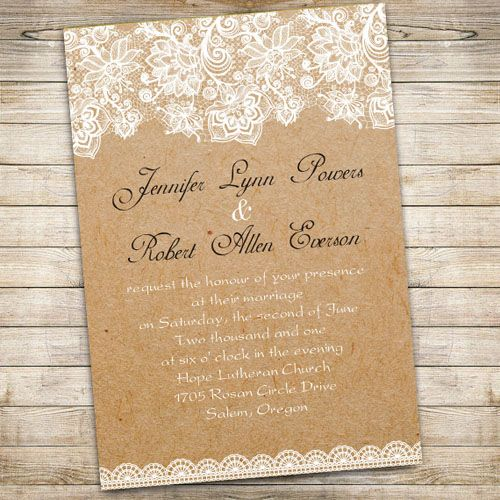 "country rustic lace printed wedding invitations//Use coupon code ""rpin"" to get 10% off towards all the invitations. #elegantweddinginvites #rusticweddingideas"