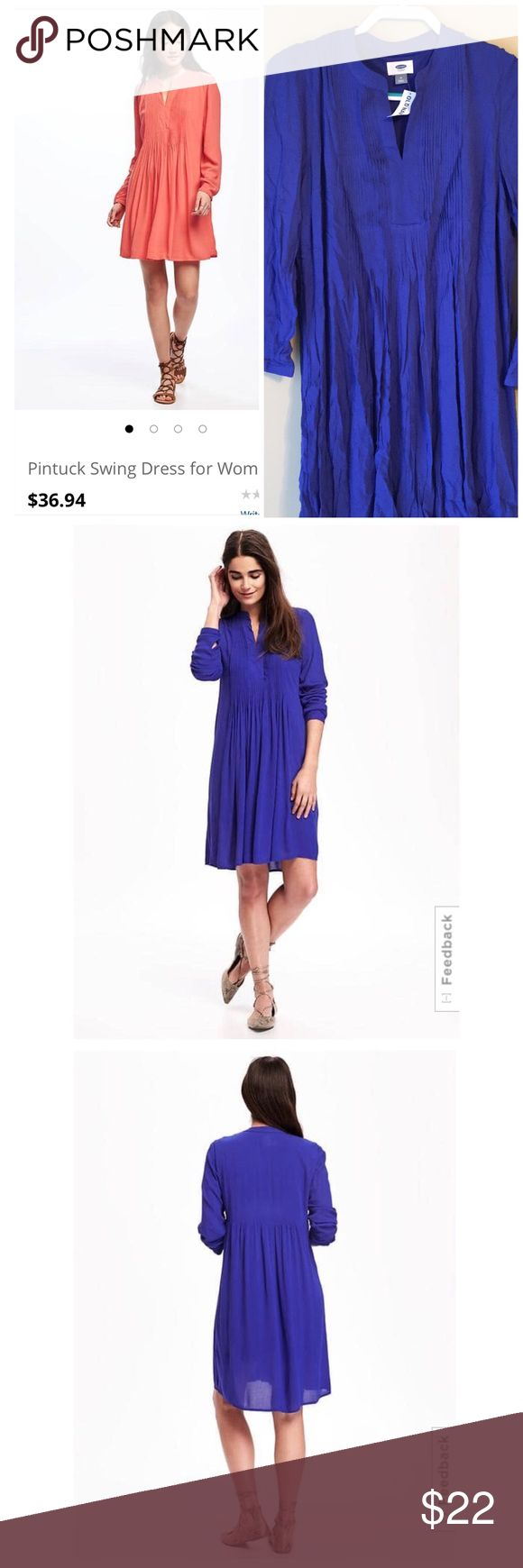 NWT 🔖 Old Navy Pintuck Swing Dress 👗 in Blue Ordered online. Still current on their Website. Retail $36.94. Size Medium. A little big on me. I am a size 6. This would fit a size 8 best. I am 5'6 and 132 lbs. I will ship it in the clear bag with barcode it came in. No Old Navy where I live to return it to. My lose...your gain. Length of dress: 32 inches long. Smoke free home. Old Navy Dresses Midi