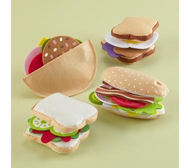 toy sandwiches: Sandwiches Sets, Felt Toys, Felt Sandwiches, Plays Sets, Plays Kitchens, Kids Kitchens, Plays Food, Felt Food, Land Of Nod