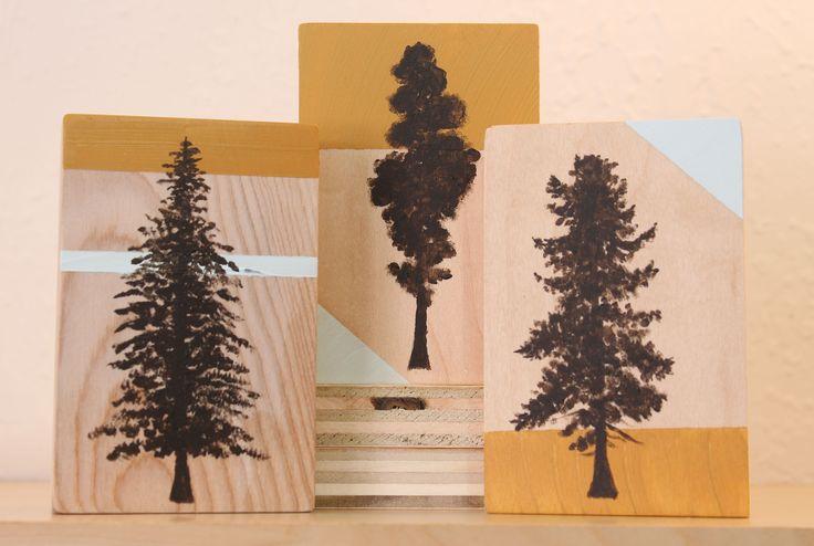 Little Tree profiles painted in acrylic paint on repurposed wood. Giant Sequoia, Douglas Fir, and Western Hemlock. Art by Atlanta artist Elizabeth Lang.
