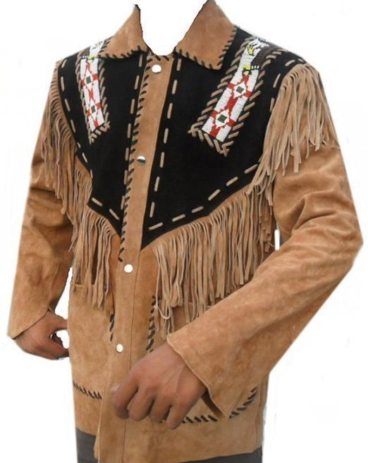 SRHides Mens Fashion Cowboy Vest with Fringes /& Bones