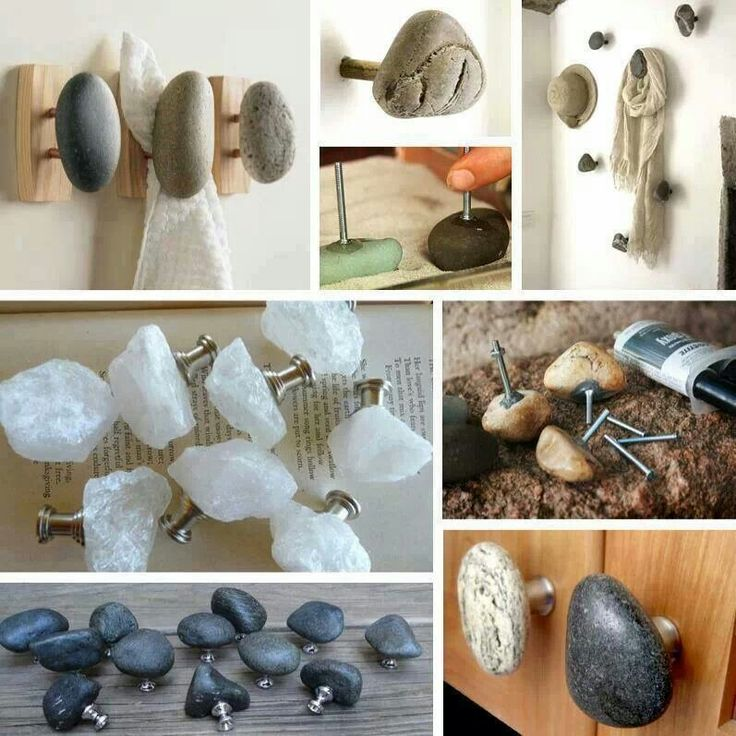 Stone wall hooks and cabinet knobs. Would make interesting interior door knobs as well.