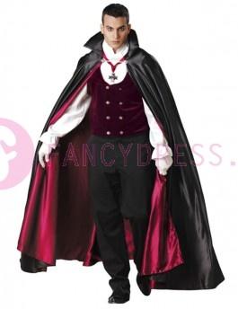 Dit luxe Gothic Vampier kostuum bestaat uit:   Een fluwelen vest met mouwen en kraag.  Een lange satijnen cape.  Een paar witte handschoenen.  Een medaillon.