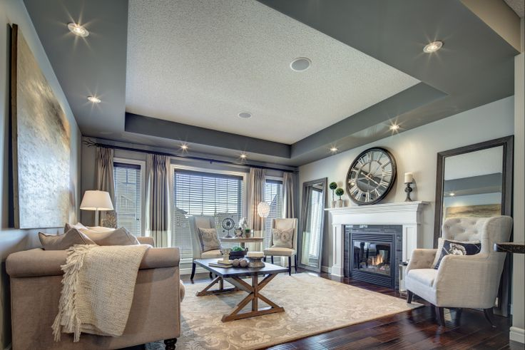 Love the tray ceiling in the great room, a beautiful finishing touch.